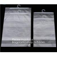 Quality HANGER HOOK BAGS,GARMENT BOTTON CLOSURE BAGS, EVA FROST DRAWSTRING BAGS, VINYL HANGER HOOK BAG for sale