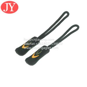 Quality 3d embossed logo PVC /RUBBER /silicon zipper pull black color zipper tag for handbags for sale
