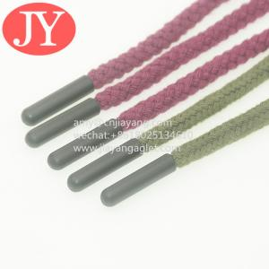 Quality factory direct produce red/ green round cotton strings end with color plasitc aglet shoelace silicone aglets tips for sale
