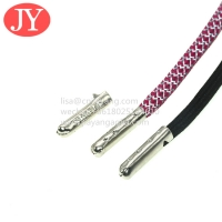 Quality Jiayang Garment drawstring manufacturer custom engrave logo aglets hoodie laces with a metal tip for sale