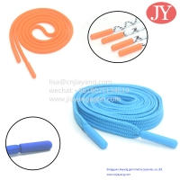 Quality JiaYang Custom Elastic Cotton Rope Flat/Round Shoelaces Injection Tpu Plastic Aglets cap lace injected tips for sale