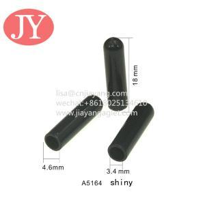 Quality 4.6*3.4*18 black shiny plastic tipping sport pants drawstring plastic cord washing no fade for sale
