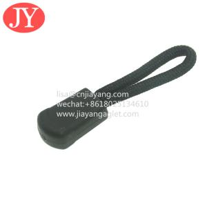 Quality plastic string zipper puller for garments custom logo and size rubber zip puller for sale