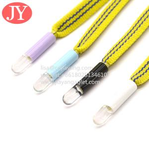 Quality double color transfer plastic aglets fashion trancksuit drawstring cords sports shoelaces plastic tipping for sale