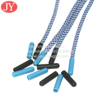 Quality double print logo string plastic aglet Plastic Tips fashionable polyester round reflective shoelaces for sale