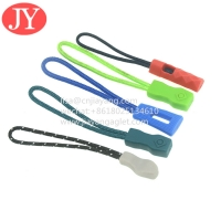 Quality JiaYang direct product good quality zip tags cord ,cord pvc rubber zipper puller 3D raised logo for sale