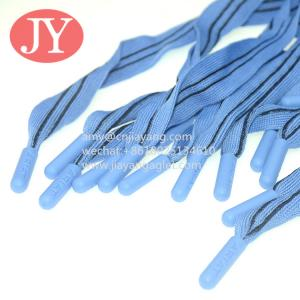 Quality blue and black flat cord drawstrings soft silicone end cord for women's short polyester cord custom aglet for sale