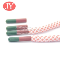 Quality made with plastic bottles round cord shoe lace wholesale custom logo colorful polyester head transfer shoe lace tip for sale