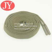 Quality Jiayang wholesale flat elastic cotton drawstrings for hoodies/shorts/sport pants end with TPU soft plastic aglets for sale