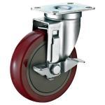 Quality Industrial Steel Heavy Duty Cart Wheels , Red PU Locking Swivel Casters for sale