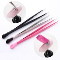 Quality 2 Heads Nail Care Tools Light Weight Tweezers With Silicone Pressing Head for sale