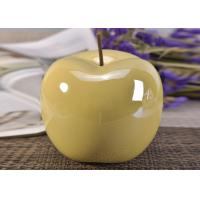 Quality Decorative Ceramic Wedding Table Centerpieces Yellow Glazed Apple Shaped for sale