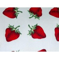 Quality Red Strawberry Printed Cotton Canvas / Anti Dirt Baby Cotton Fabric for sale