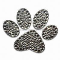 Quality Crystal Car Sticker in Paw Print Shape, OEM Orders are Welcome, Measures 4 x 3 Inches for sale