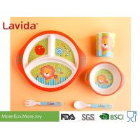 Buy cheap 3-section Round Shape Dishwasher Safe Bamboo Childrens Dinner Set , Reusable from wholesalers