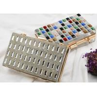 Metalic Acrylic Small Clutch Bags With Luxury Multi Color Crystal Front