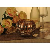 Quality Vintage Gold Glass Candle Holder / Candle Cups Shock Resistant With 1119ml for sale