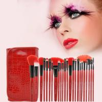 Buy cheap Red Crocodile Cosmetic Brush Set Synthetic Hair Wood Handle Material Face Usage from wholesalers