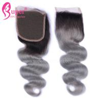 Quality 4*4 Free Part Virgin Hair Closures Steam Processed Double Drawn Dark Ombre Color for sale