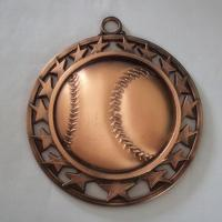 Quality Metal hollow baseball medal, zinc alloy blank hollowed baseball medallion, bronze plated, for sale