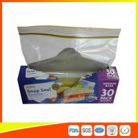 Quality Supermarket Reuseable Plastic Clear Sandwich Bags Zipper Top 22 * 25cm for sale