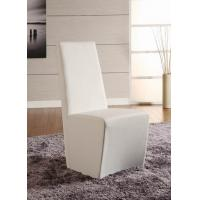 Quality Simple Shape White Faux Leather Dining Chairs Stainless Steel Base for sale