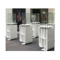 Quality Shining White Coating Custom Glass Display Cases With High Pole LED Lights for sale