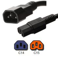 Buy IEC 60320 Power Cord C14 to C15 PDU Jumper Cords Rated 10A  250V 18 / 3 SJT Cable at wholesale prices