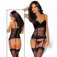 Quality Lingerie Corset Costumes, Includes G-string and Gloves, Lace Up Design for sale