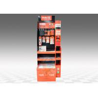 Buy cheap 3 - tier Cardboard Floor Display Stand With Hooks , Hat Display Stand from wholesalers