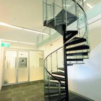 Quality Customized Tempered Glass Tread Spiral Staircase with Glass Railing for sale