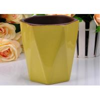 Quality Hexagon Shape yellow contemporary Ceramic Candle Holder Color Glazed For scented Wax for sale