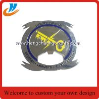 China Custom challenge coin bottle opener, zinc alloy brass metal bottle open on sale
