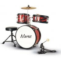 Buy Red Complete Set 3 Piece Junior Kids Drum Set Percussion Kit With Cymbal Z343S at wholesale prices