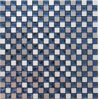 Quality Silver Brushed Particle Glass And Metallic Mosaic Wall Tiles With Blue Crystal Diamond Glass for sale