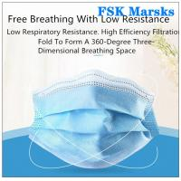 Quality Block Coronavirus 3 Ply Disposable Face Mask Aseptic Melt Blown Cloth Blue Mask for sale