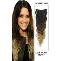Quality Peruvian Multi Ombre Color Hair Extensions Clips Full Ends Double Drawn for sale