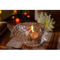 Quality Fashional Creative Clear Glass Tealight Candle Holders Small Gold Fish for sale