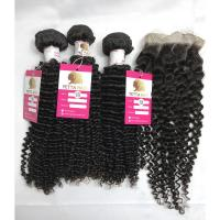 China Peruvian Human Hair Weave Kinky Curly Hair Bundles with Closure Human Hair Weave on sale