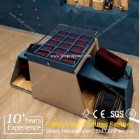 Buy Wholesale custom floor wood bag display rack lesther display showcase for bag and shoes at wholesale prices