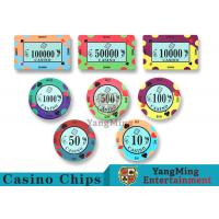 Quality 40 / 43mm Diameter Ceramic Casino Chips Bright Colors With Custom Printed Design for sale