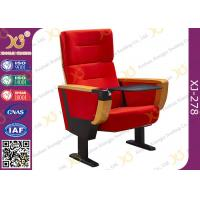 Quality Red Fabric Cover Stadium Theatre Seating Chairs With Drink Holder / Folded Movie Seats for sale