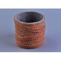 Quality Deco Weave Twine Cylinder Concrete Candle Holders 12cm Bottom dia for sale