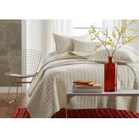 Quality Square Embroidered Solid Dune Quilt Set , 100% Cotton 3Pcs White Quilt Set for sale