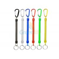 Quality Colorful Spring Coil Lanyard Economical Fly Fishing Accessory With Colored Carabiner for sale