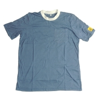 Quality Light Blue 96% Polyester 5mm Strip Short Sleeve ESD Smock for sale