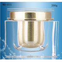 Quality empty 200ml square skin care cosmetic  acrylic jar  with gold cap for sale