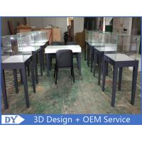 Quality Manufacturer supplier modern simple style wooden gray color museum exhibit cases with lights for sale