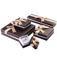 Quality Stylish Design Cardboard Jewelry Gift Boxes With Bow Velvet Foam Insert for sale