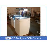 Quality Wood Square Custom Glass Display Cases / Pedestal Showcase With Cabinet Locks for sale